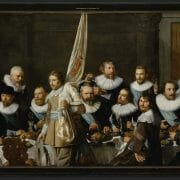 Banquet of Guardsmen from the District IV under Captain Jacob Backer and Lieutenant Jacob Rogh, Nicolaes Pickenoy, 1632 (detail), canvas, 198 x 531 cm, collection Amsterdam Museum